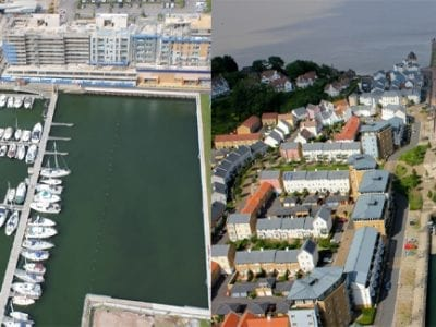 Flight over Portishead Marina Bristol